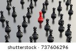 leadership concept  red pawn of ... | Shutterstock . vector #737606296