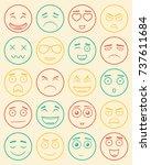 set of outline emoticons  emoji ...   Shutterstock .eps vector #737611684