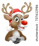 a christmas reindeer cartoon... | Shutterstock .eps vector #737612986