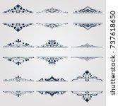 vintage frame set on pattern...   Shutterstock .eps vector #737618650