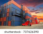crane lifting up container in... | Shutterstock . vector #737626390