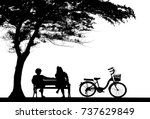 silhouette vintage bike and... | Shutterstock . vector #737629849