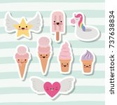 cute set of ice creams and star ...   Shutterstock .eps vector #737638834