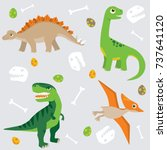 cute dinosaur vector pattern