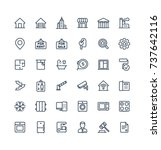 vector thin line icons set ... | Shutterstock .eps vector #737642116