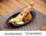 lobster thermidor  seafood ...   Shutterstock . vector #737645890