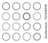vintage circle frame vector set   Shutterstock .eps vector #737648998
