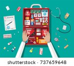 workflow of physicians. first... | Shutterstock .eps vector #737659648