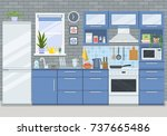 kitchen with stove ... | Shutterstock .eps vector #737665486