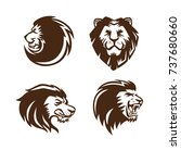 lion head logo set  | Shutterstock .eps vector #737680660