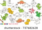 dino set to be colored  the... | Shutterstock .eps vector #737682628