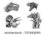 graphical set of dinosaurs... | Shutterstock .eps vector #737683090
