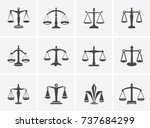 the set scales  justice ... | Shutterstock .eps vector #737684299