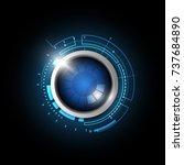 blue technology button  vector... | Shutterstock .eps vector #737684890