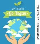 vector go vegan poster  banner...   Shutterstock .eps vector #737685463