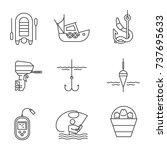 fishing linear icons set.... | Shutterstock .eps vector #737695633