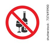 forbidden sign with wine bottle ... | Shutterstock .eps vector #737695900