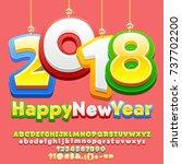 vector happy new year 2018... | Shutterstock .eps vector #737702200