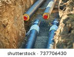 district heating   connecting...   Shutterstock . vector #737706430