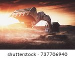 large backhoe or digger with... | Shutterstock . vector #737706940