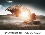 large heavy duty digger or... | Shutterstock . vector #737707120