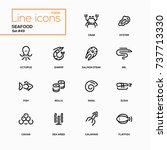 seafood    line design icons... | Shutterstock .eps vector #737713330