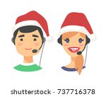 portrait of happy smiling... | Shutterstock .eps vector #737716378
