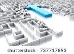 3d illustration. blue arrow... | Shutterstock . vector #737717893
