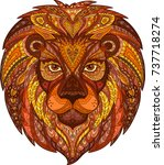 decorated lion head | Shutterstock .eps vector #737718274