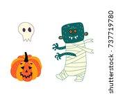 vector flat cartoon halloween... | Shutterstock .eps vector #737719780