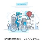 bicycle city. young girl rides... | Shutterstock .eps vector #737721913