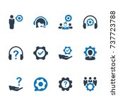 technical support icon   blue... | Shutterstock .eps vector #737723788