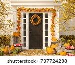 3d rendering. autumn decorated... | Shutterstock . vector #737724238