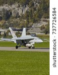 Small photo of Swiss Air Force F-18 C Hornet at Meiringen Airbase Switzerland during Axalp Shooting, 11.10.2017