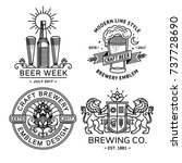 set beer logo black and white   ... | Shutterstock .eps vector #737728690