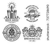 set beer logo black and white   ... | Shutterstock .eps vector #737728690