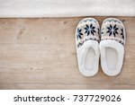 Slippers on wooden floor.soft...
