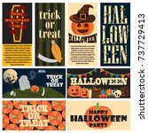 vintage halloween party... | Shutterstock .eps vector #737729413