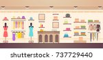women's clothes store with... | Shutterstock .eps vector #737729440