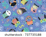 christmas seamless pattern with ... | Shutterstock .eps vector #737735188