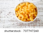 italian food raw macaroni for... | Shutterstock . vector #737747260