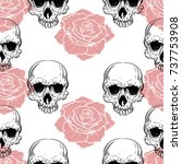 roses and skulls seamless... | Shutterstock .eps vector #737753908