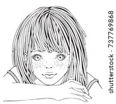 cute cartoon little girl.... | Shutterstock .eps vector #737769868