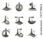 Lighthouse Icon Set With Ocean...