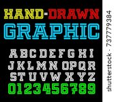 vector set of graphic typeface | Shutterstock .eps vector #737779384