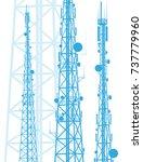 telecommunication tower blue... | Shutterstock .eps vector #737779960