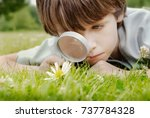 pre school boy  discovering... | Shutterstock . vector #737784328