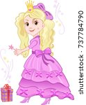 beautiful pink fairy. cute girl ... | Shutterstock . vector #737784790