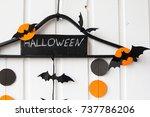 decor  halloween  garland ... | Shutterstock . vector #737786206