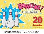 horizontal banner of a bowling... | Shutterstock .eps vector #737787154
